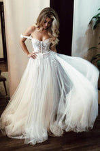 Load image into Gallery viewer, Unique Off the Shoulder Ivory Long Wedding Dress with Appliques Sweetheart Wedding Gowns XHLPST15461