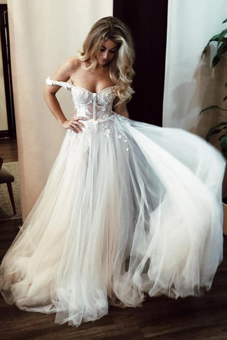 Unique Off the Shoulder Ivory Long Wedding Dress with Appliques Sweetheart Wedding Gowns XHLPST15461