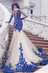 Mermaid Royal Blue Scoop Appliques Tulle Prom Dresses Long Evening XHLPST20464