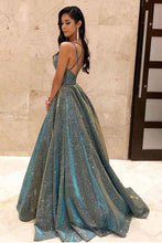 Load image into Gallery viewer, Sparkly Spaghetti Straps Green Sequins Prom Dresses Backless Party Dresses XHLPST15431