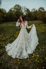 Load image into Gallery viewer, Charming Long Sleeves Lace V Neck Bohemian Backless Beach Wedding XHLPST20400
