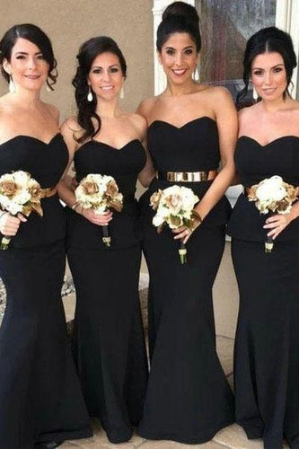 Elegant Mermaid Black Sweetheart Strapless Bridesmaid Dresses with Lace XHLPST20462