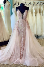 Load image into Gallery viewer, Spaghetti Straps Beads Appliques Deep V Neck Pink Prom Dresses with Detachable Train XHLPST15408