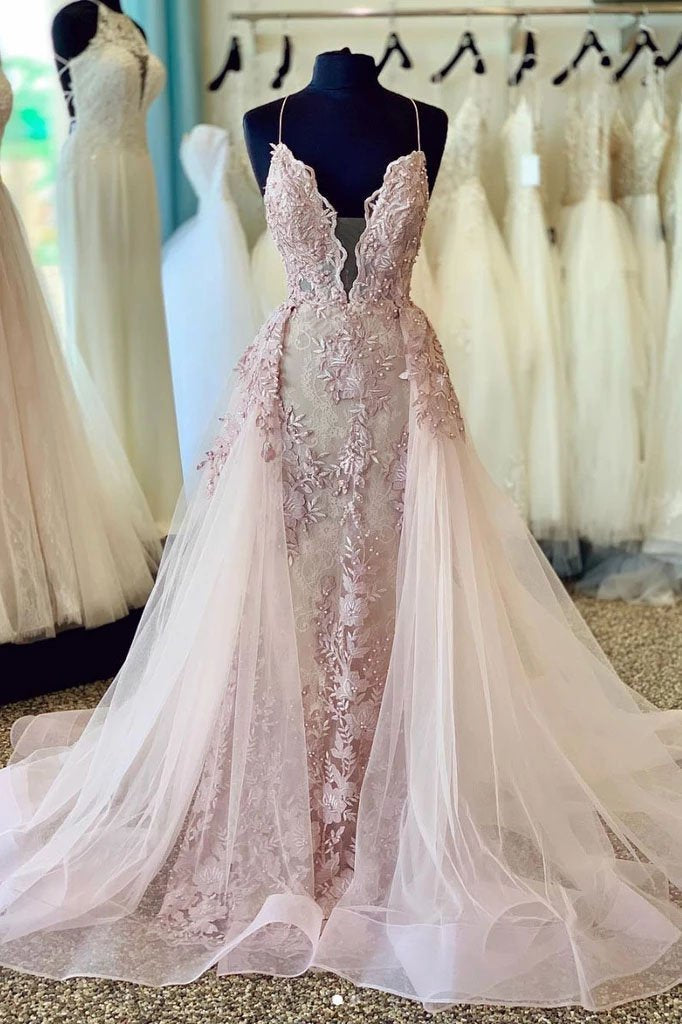 Spaghetti Straps Beads Appliques Deep V Neck Pink Prom Dresses with Detachable Train XHLPST15408