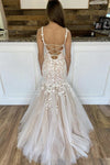 Charming Mermaid Lace Tulle Spaghetti Straps Long Appliques Prom XHLPST20484