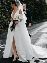 Load image into Gallery viewer, Stunning V-Neck Satin Straps Ivory Wedding Dresses A-line Bridal Gowns with Pockets V Back XHLPST14983