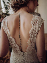 Load image into Gallery viewer, Vintage Lace Appliques Ivory V Neck Cap Sleeves Mermaid Wedding Dresses Wedding Gowns XHLPST15542