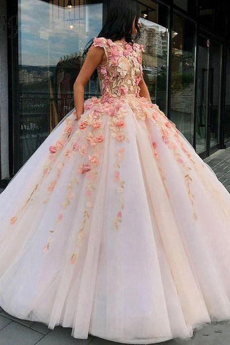 Princess Ball Gown Pink Tulle Prom Dresses with Handmade Flowers Quinceanera XHLPST20430