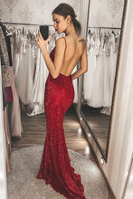 Load image into Gallery viewer, Burgundy Sequins Mermaid Long V Neck Backless Prom Dresses Formal XHLPST20393