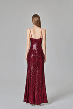 Load image into Gallery viewer, Spaghetti Straps Burgundy Prom Dresses Mermaid Sequins Party Dresses Dance Dresses XHLPST15412