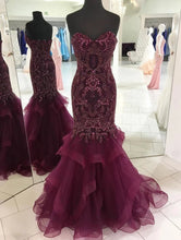 Load image into Gallery viewer, Strapless Sweetheart Long Tulle Mermaid Beads Prom Dresses Maroon Formal Dresses XHLPST15433
