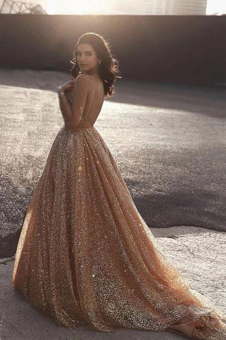Sparkly Spaghetti Straps A Line Elegant Long Prom Dress Sequins Evening Party Dresses XHLPST15430
