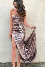 Load image into Gallery viewer, Sexy Mermaid Strapless Sequins Prom Dresses with Slit Long Evening XHLPST20439