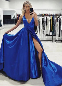Spaghetti Straps Royal Blue V Neck Satin Prom Dresses with High Slit A Line Formal Dresses XHLPST15419