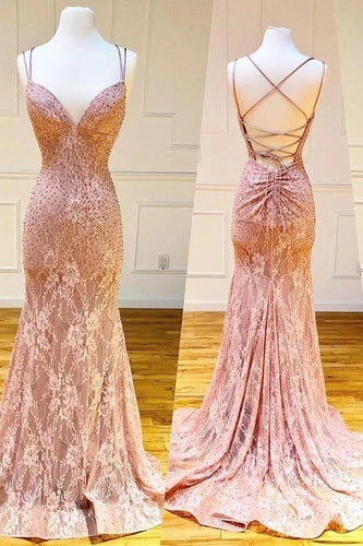 Mermaid Spaghetti Straps Pink Lace V Neck Beads Prom Dresses with XHLPST20426