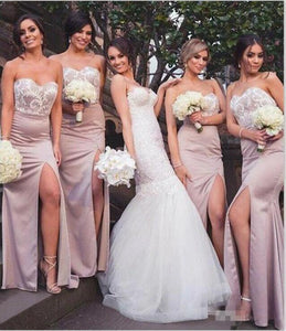 Mermaid Sweetheart Blush Bridesmaid Dresses with Lace Wedding Party XHLPST20465