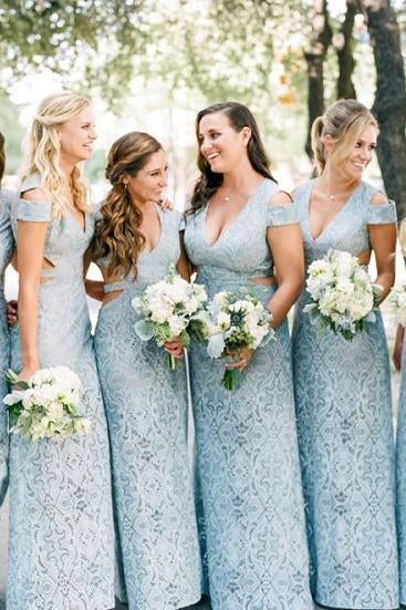 Mermaid Lace Baby Blue V Neck Bridesmaid Dresses for Wedding XHLPST20425