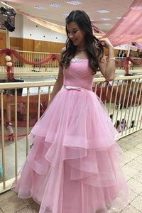 Unique Pink Tulle Long Prom Dresses Strapless Belt Sweet 16 Dress XHLPST15462