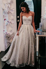 Load image into Gallery viewer, Sparkly Sweetheart Silver Long Prom Dresses Sequins Beads Formal Dresses XHLPST15432