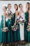 Elegant A Line Green Floor Length Bridesmaid Dresses Long Prom XHLPST20460