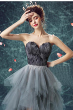 Load image into Gallery viewer, Elegant High Low Strapless Sweetheart Feathers Tulle Gray Prom Dresses with Lace XHLPST20415