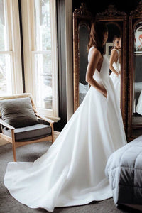 Simple Round Neck Satin Ivory Wedding Dresses with Pockets Long Wedding Gowns XHLPST15398