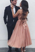 Load image into Gallery viewer, Simple A Line V Neck Tulle Tea Length Short Prom Dresses Evening XHLPST20444