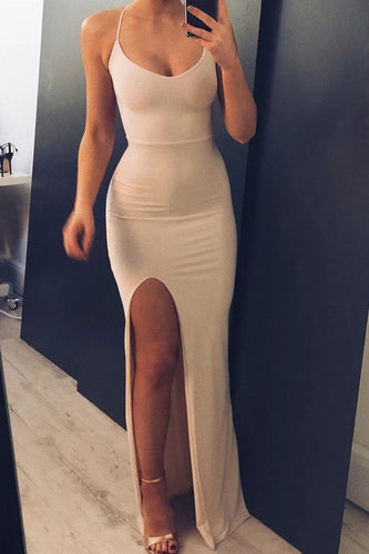 Simple Mermaid Side Slit Spaghetti Straps Long Prom Dresses Cheap Formal Dresses XHLPST15395