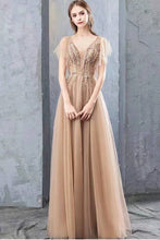 Load image into Gallery viewer, A Line V Neck Tulle Long Prom Dresses Cheap Evening Dress with XHLPST20488