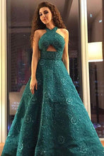 Load image into Gallery viewer, Unique A Line Green Halter Beading Satin Long Prom Dresses Cheap Evening Dresses XHLPST15451