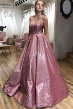 Load image into Gallery viewer, Unique A line Pink Sequins Spaghetti Straps Prom Dresses Evening XHLPST20450