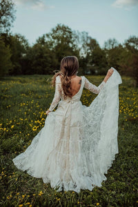 Charming Long Sleeves Lace V Neck Bohemian Backless Beach Wedding XHLPST20400