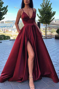 Simple A Line Spaghetti Straps V Neck Satin Prom Dresses with Slit Formal XHLPST20470