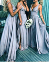 Elegant A Line V Neck Blue Straps Bridesmaid Dresses Wedding Party XHLPST20413