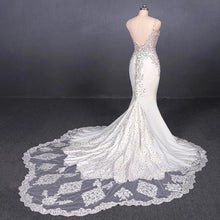 Load image into Gallery viewer, Spaghetti Straps Mermaid Wedding Dress with Lace V-neck Wedding Dresses XHLPST15418