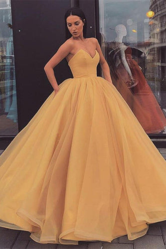 Sweetheart Strapless Yellow Long Modest Prom Gown Ball Gown Quinceanera Dresses XHLPST15441
