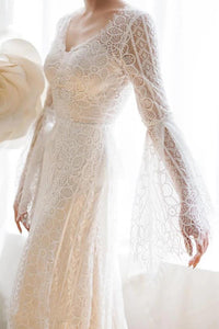 Unique V Neck Lace-up Mermaid Back Bridal Dresses Ivory Lace Trumpet Sleeve Wedding Dresses XHLPST15469