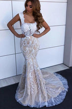 Load image into Gallery viewer, Charming Mermaid Square Neck Straps Lace Wedding Dresses Bridal XHLPST20403