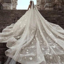 Load image into Gallery viewer, Stunning Long Sleeve Ball Gown 3D Flowers Wedding Dresses Long Wedding Gowns XHLPST15435