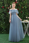 Simple Off the Shoulder Tulle Long Prom Dresses Blue Bridesmaid Dresses XHLPST15396