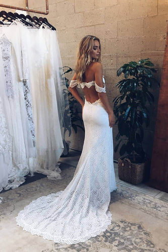 Princess Off the Shoulder Lace Off White Sweetheart Wedding Dresses with Side Slit XHLPST15301