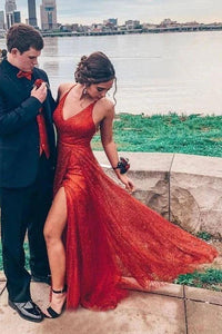 Sparkly V Neck A Line Red Spaghetti Straps Prom Dresses with Slit Evening XHLPST20447