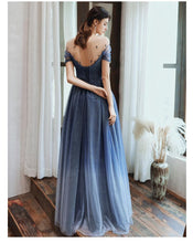 Load image into Gallery viewer, Charming A Line Blue Ombre Tulle Prom Dresses with Open Back Evening XHLPST20394