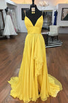Simple Spaghetti Straps A Line Yellow Ruffles V Neck Prom Dresses Evening Dresses XHLPST15400