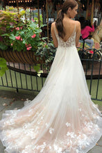Load image into Gallery viewer, Tulle V Neck Embroidery Long Spaghetti Straps Wedding Dresses Bridal Dresses XHLPST15444