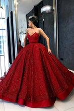 Load image into Gallery viewer, Sparkly Ball Gown Burgundy Strapless Sweetheart Prom Dresses Long Quinceanera Dresses XHLPST15428
