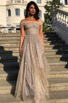 Sparkly A Line Off the Shoulder Prom Dresses with V Back Long Dance Dresses XHLPST15600