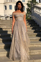 Load image into Gallery viewer, Sparkly A Line Off the Shoulder Prom Dresses with V Back Long Dance Dresses XHLPST15600