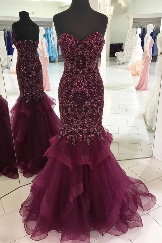 Strapless Sweetheart Long Tulle Mermaid Beads Prom Dresses Maroon Formal Dresses XHLPST15433