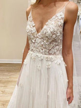 Load image into Gallery viewer, Elegant A line Spaghetti Straps V Neck Tulle Wedding Dresses Wedding XHLPST20411